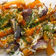 Roast butternut squash and red onion with tahini and zaatar
