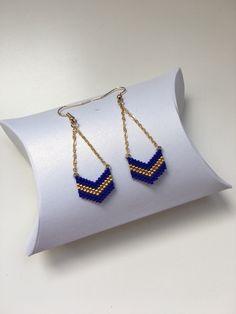 Boucles d'oreilles tissage à la main en Perles Miyuki - doré et bleu