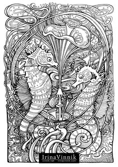 Manic Botanic, Zifflin's Tension Taming Coloring book, invites you to get in touch with nature in all of its glory. In incredible detail, Vinnik has captured some of nature's most dynamic duos. Time slows down so you can explore the undergrowth, and al Animal Coloring Pages, Coloring Pages To Print, Coloring Book Pages, Printable Coloring Pages, Coloring Sheets, Colorful Pictures, Colored Pencils, Bunt, Line Art