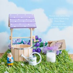 Pretty purple Fairy Wishing Well for Fairy Doors, hand painted with white polka dots. Includes Fairy Dust. A perfect accessory for your Fairy Door.