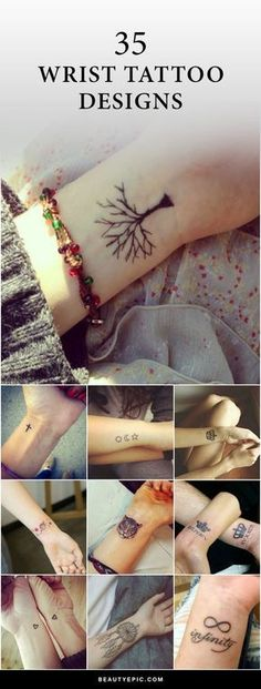 Due to its highly visible tattoos on wrist are the best way to show a person's personality. Here we listed 35 inspiring wrist tattoos for men & women. Mini Tattoos, Trendy Tattoos, Body Art Tattoos, New Tattoos, Flower Tattoos, Clock Tattoos, Classy Tattoos, Symbol Tattoos, Popular Tattoos