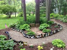 wine bottle path.