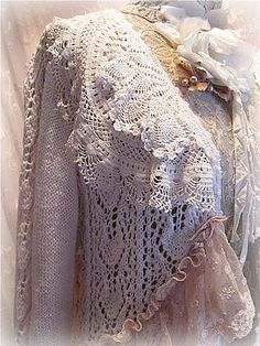 Knowing where to put what. Lace jacket by kimberlyannryan Altered Couture, Antique Lace, Vintage Lace, Irish Crochet, Crochet Lace, Crochet Edgings, Crochet Motif, Crochet Shawl, Vintage Outfits