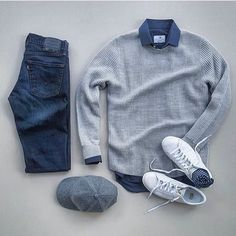 Men Clothing casual fall monochrome outfit inspiration with a textured gray sweater blue button up shirt levi denim gray hat white sneakers and blue socks. My guess this is no idea though Mode Outfits, Casual Outfits, Fashion Outfits, Fashion Boots, Fashion Mode, Mens Fashion, Flat Lay Fashion, Style Fashion, Cheap Fashion