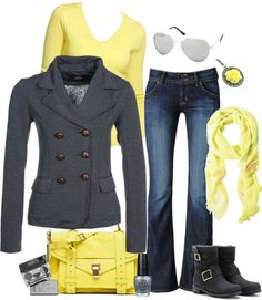 """""""Yellow and Gray"""" by pamnken on Polyvore. :) I love Yellow & Gray together, so adorable! <3"""