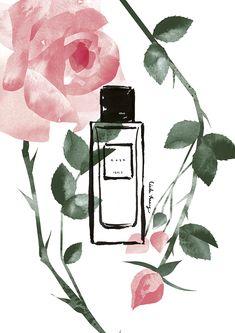 VO   Valérie Oualid : Agent d'illustrateurs   Cécile Huang   Le parfum - Rose Parfum Rose, Cecile, Illustrations, Cosmetics, Luxury, Nature, Fashion, Artist, Moda