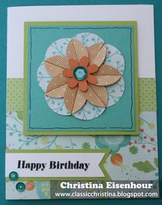 Birthday flower card featuring CTMH Blossom paper