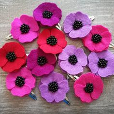 Beautiful anemone or poppy hair clips.