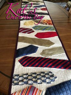 Memory quilt - Neck Tie Memory Table Runner Table Runner Quilt Memorial Quilt made of Grandpa's Ties Necktie Quilt Keepsake Necktie Quilt Runner – Memory quilt Quilting Projects, Sewing Projects, Quilting Ideas, Fabric Crafts, Sewing Crafts, Necktie Quilt, Quilt Patterns, Sewing Patterns, Tatting Patterns