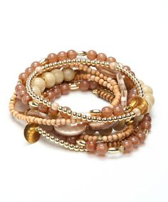 Take a look at this Brown & Gold Beaded Bracelet by Ingenious on #zulily today!