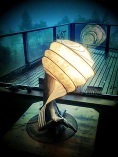 Amazing handmade lamp in driftwood, reeds, paper & resin.