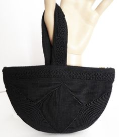 Vintage 1930s Purse//30s Handbag//Black//Corde