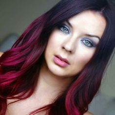Red Violet Hair, Violets, Dyed Hair, Hair Ideas, Makeup, Make Up, Coloured Hair, Beauty Makeup, Colored Hair