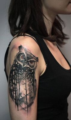 Stylish Mystical Owl Tattoos For Women, New Animal Tattoos December 2016