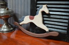 $14.90 ✿ bluefolkhome on etsy ✿ Rocking Horse 17 Hand Painted Wood  Rustic by bluefolkhome on Etsy