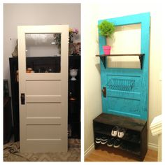 An up cycled old door. Shoe rack, mail holder, and a small shelf for decor.