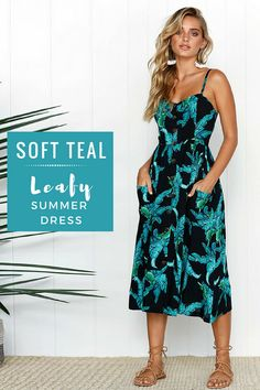Leaf print dresses are good in beaching.#leafprint #summer #expressionation