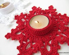 Crochet PATTERN - Christmas Crochet Pattern - Tea Light Holder - Candle Holder Melting Snowflake - Instant Download - Lyubava Pattern 60