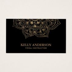 Yoga Instructor Black & Gold Lotus Mandala Business Card - black gifts unique cool diy customize personalize