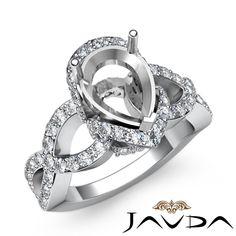 Diamond Engagement Pave Set Cross Shank Ring Pear Semi Mount 14k w Gold 0 8ct | eBay