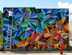 Colorful Geometric Graffiti Murals by Matt W. Moore