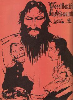 """Russia's royal home"". A leaflets shows Rasputin controlling the Tsar and Tsarina."