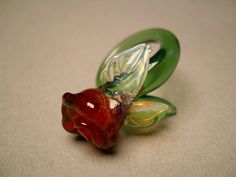 Blown glass jewelry Rose Ring by Glassnfire on Etsy