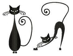 Whimsical Cat Silhouette Set III