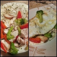 Delicious, nutritious, breakfast #eats Egg white omelet with sauteed mushrooms, roasted red peppers, onions, broccoli, and diced chicken lightly seasoned #NutrionIsTheKey