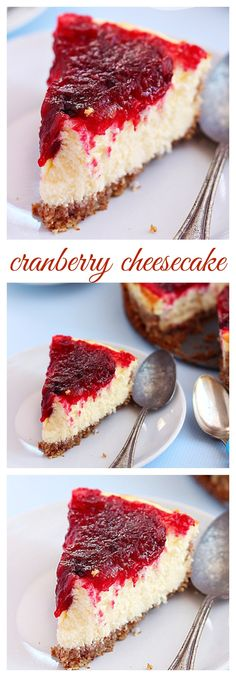A creamy velvety cheesecake topped with ruby red cranberry sauce. A festive holiday treat perfect for the Thanksgiving or Christmas dessert table