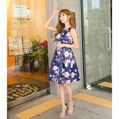 Oomph NavyBlue Polyester Printed Short Dress @Looksgud.in #Oomph #NavyBlue #ShortDress