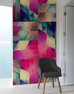 Add geometric wall tiles to create a graphic accent wall. You can use wall tiles to create the effect. Patterned Wall Tiles, Geometric Tiles, Geometric Designs, Wall Patterns, Paint Patterns, Design Patterns, Wall Treatments, Wall Colors, Interior And Exterior
