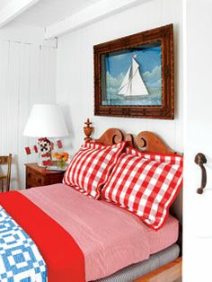 Traditional elements link this guest bedroom to its Colonial past, while vibrant hues help it feel fresh and modern.