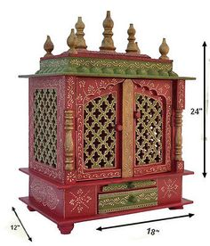 Wooden Handicrafted Hindu Temple Mandir Pooja Ghar Mandapam For Worship