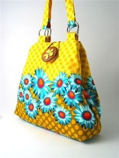 fun yellow 2 way bag hobo or tote shoulder bag by daphnenen, $75.00