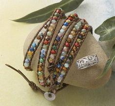 Gemstone 5 Wrap Bracelet - leather cords wrap bracelet with semiprecious beads.