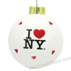 Glitter I Love NY Christmas Ornaments Make your Christmas tree sparkle with red and while glitter with these fun I Love NY glass glittered ornaments. (http://www.nycwebstore.com/i-love-ny-glitter-ornament/)