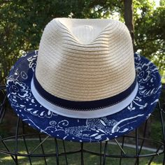 """NWT Woven & Blue Floral Fedora Enjoy this great hat at the beach or after you come back because wearing this hat can keep you on """"permanent vacation""""!!!!! John Callanan Accessories Hats"""