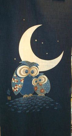 'Owls Moon' (Japanese noren panel)