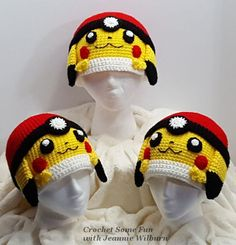I was inspired to create this hat pattern for my Daughter who loves Pokemon Pocket Monsters. Her favorite is Pikachu. Pattern comes in Teen/Adult and Toddler/Child Includes detailed photos to help … Crochet Beanie, Cute Crochet, Crochet For Kids, Crochet Yarn, Crochet Hooks, Headband Crochet, Crocheted Hats, Pikachu Pokeball, Pokemon Hat