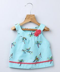 Turquoise Parrot Yoke Top - Infant by Beebay