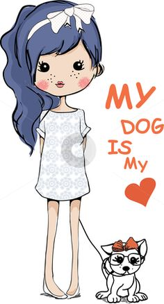 girl with dog illustration