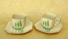 Art Deco Demitasse Teacup & Saucer: Rare Leigh Potters Ultra Green Wheat, 2 Available at Discount. $45.00, via Etsy.