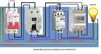 Esquemas eléctricos: reloj horario y contactor