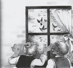 MADÁRKERT Egyszer egy falu szélén állt ez a szalmatetős ház. Előtte egy szépséges kert volt, abban munkálkodott Juli néni és János bácsi. Nemcsak a növényeket gondozták, hanem azért is megtettek mindent, hogy a madarak felkeressék, megszeressék őket. Ezért a fészerben János bácsi már nyáron…