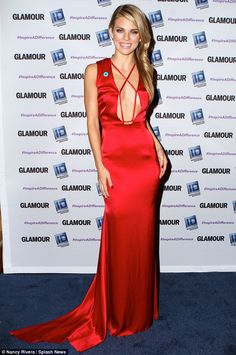 Bold look: Actress AnnaLynne McCord wore a low-cut red gown as she was honored for her wor...