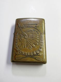 Vintage Indian Chief Zippo Lighter  Brass  by UrbanRenewalDesigns, $32.00