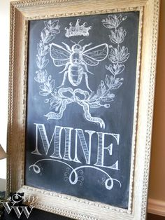 "Chalkboard Art, only is would be... ""Meant to"" then pic of bee"