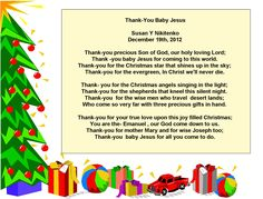 Christmas Thank You Jesus Poem Visit the Immanuel Prayer Wheel - Maranatha Prayer Community today and assemble with others in crying out for our God's soon return, and also pray for your needs, and numerous other things. Click below for more info!