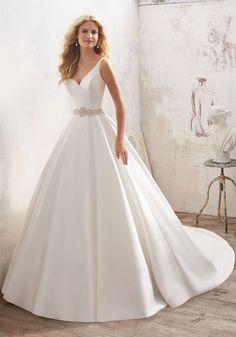 simple ballgown wedding dress. plain wedding dress. tank wedding dress. morilee wedding dress